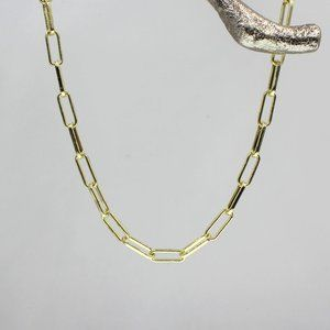 Gold Paperclip Adjustable Pearl Chain Necklace